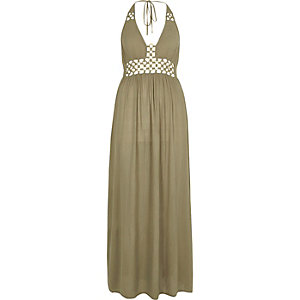 Khaki green ring front maxi beach dress