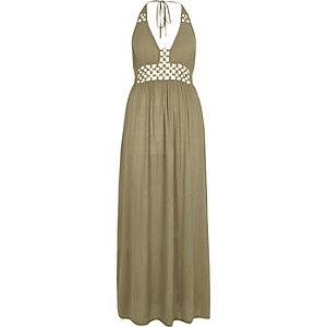 Khaki green ring front maxi beach dress