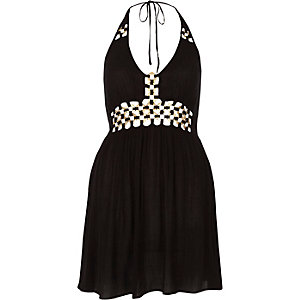 Black ring front halter mini beach dress