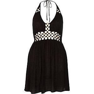 Schwarzes Mini-Strandkleid mit Neckholder