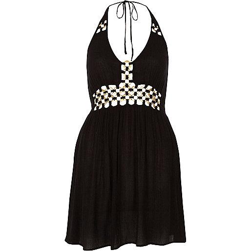 Black ring front halter mini beach dress