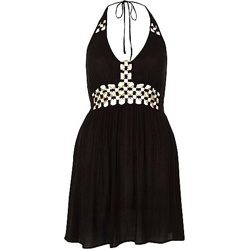 Mini robe de plage noire dos nu avec anneaux