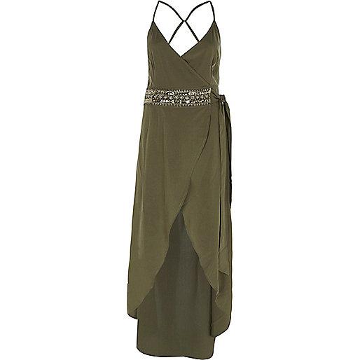 Khaki green embellished wrap maxi beach dress