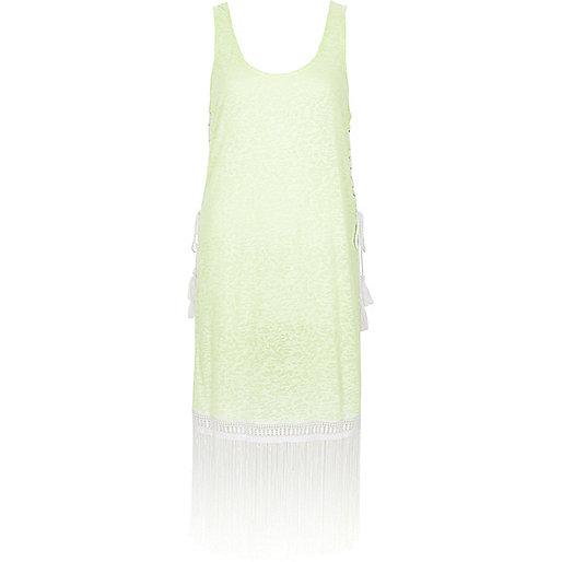 Neon yellow burnout fringe trim vest dress