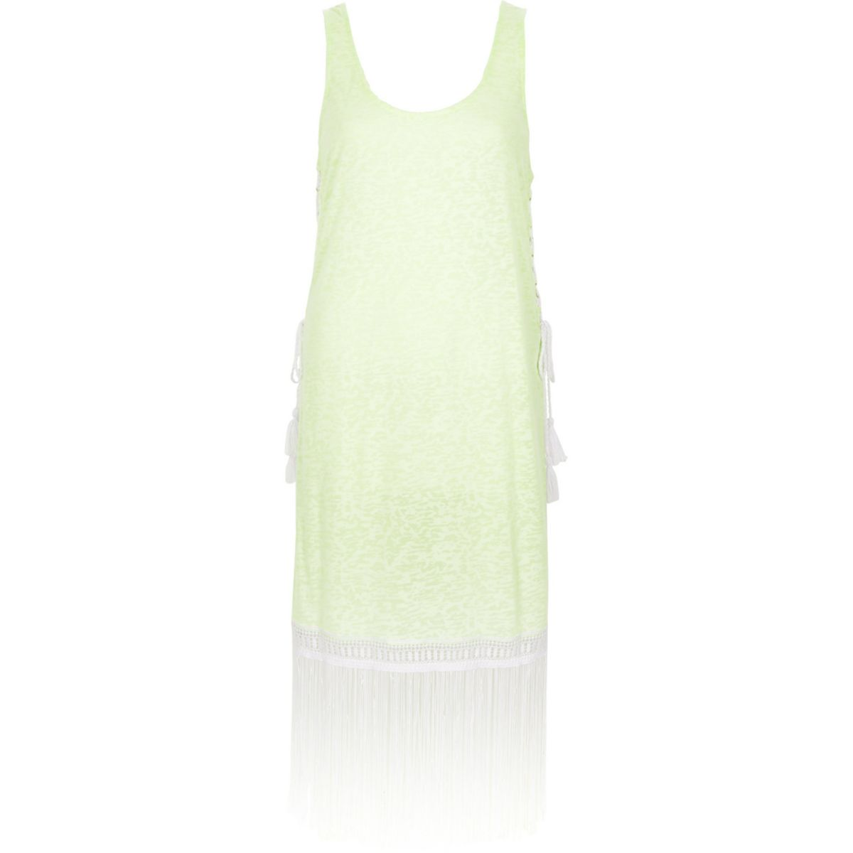 Neon yellow burnout fringe trim vest dress