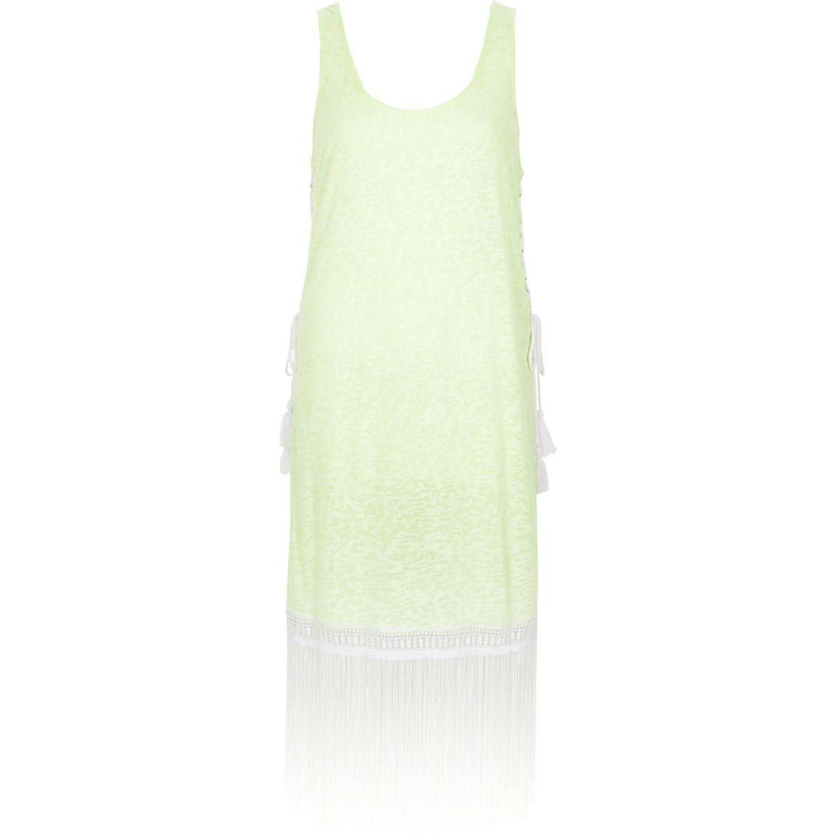 Neon yellow burnout fringe trim tank dress