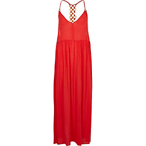 Coral ring back maxi beach dress