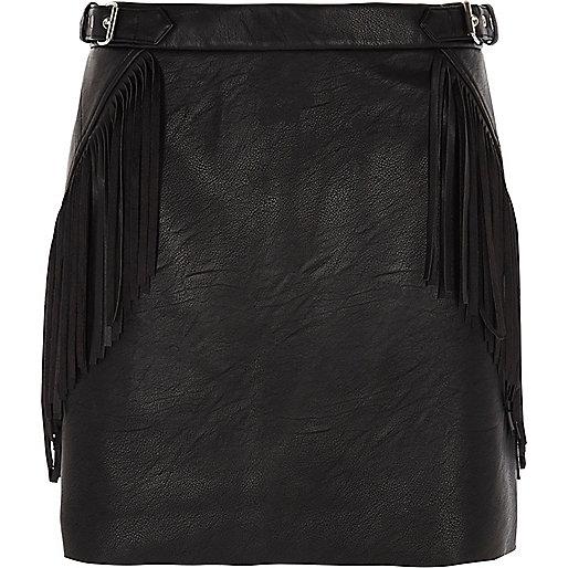 Black fringed buckle faux leather mini skirt
