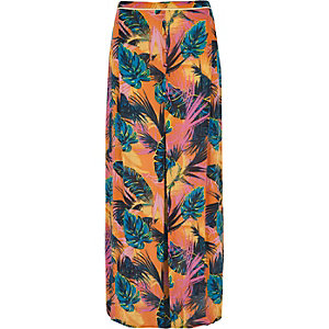Orange tropical split front maxi beach skirt
