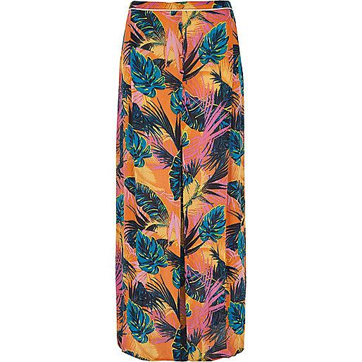 Orange tropical split front maxi beach skirt