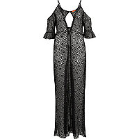 Black lace cold shoulder maxi kaftan