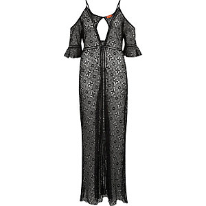 Black lace cold shoulder maxi caftan