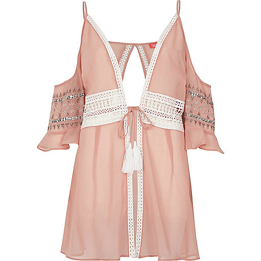 Pink crochet lace trim beach cover up