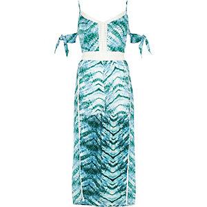 Blauwe tie-dye strandpaysuit met maxirok