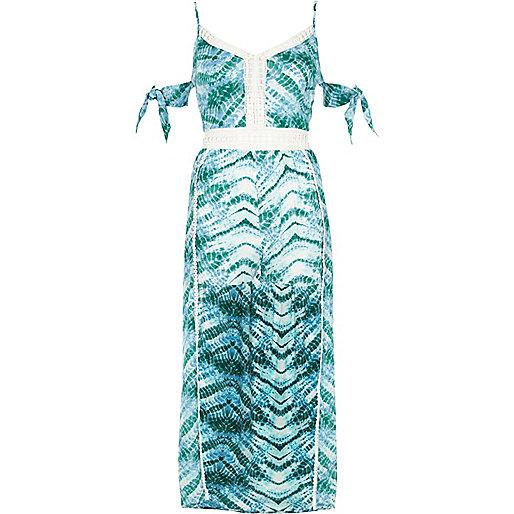 Blue tie dye beach maxi skirt beach romper