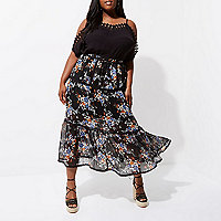 Plus black chiffon floral tiered maxi skirt
