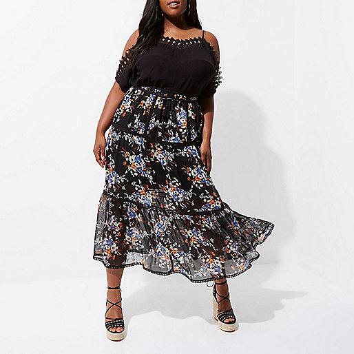 Plus black chiffon floral tiered maxi skirt