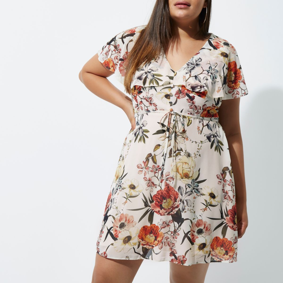 Plus cream floral print tea dress