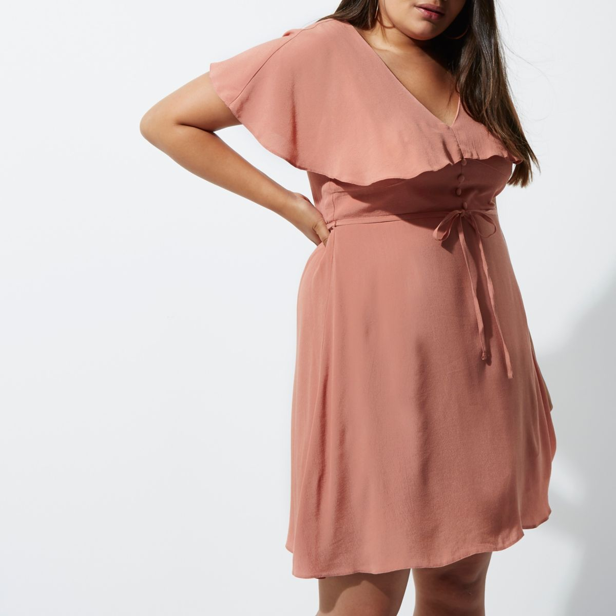 Plus light pink cape tea dress