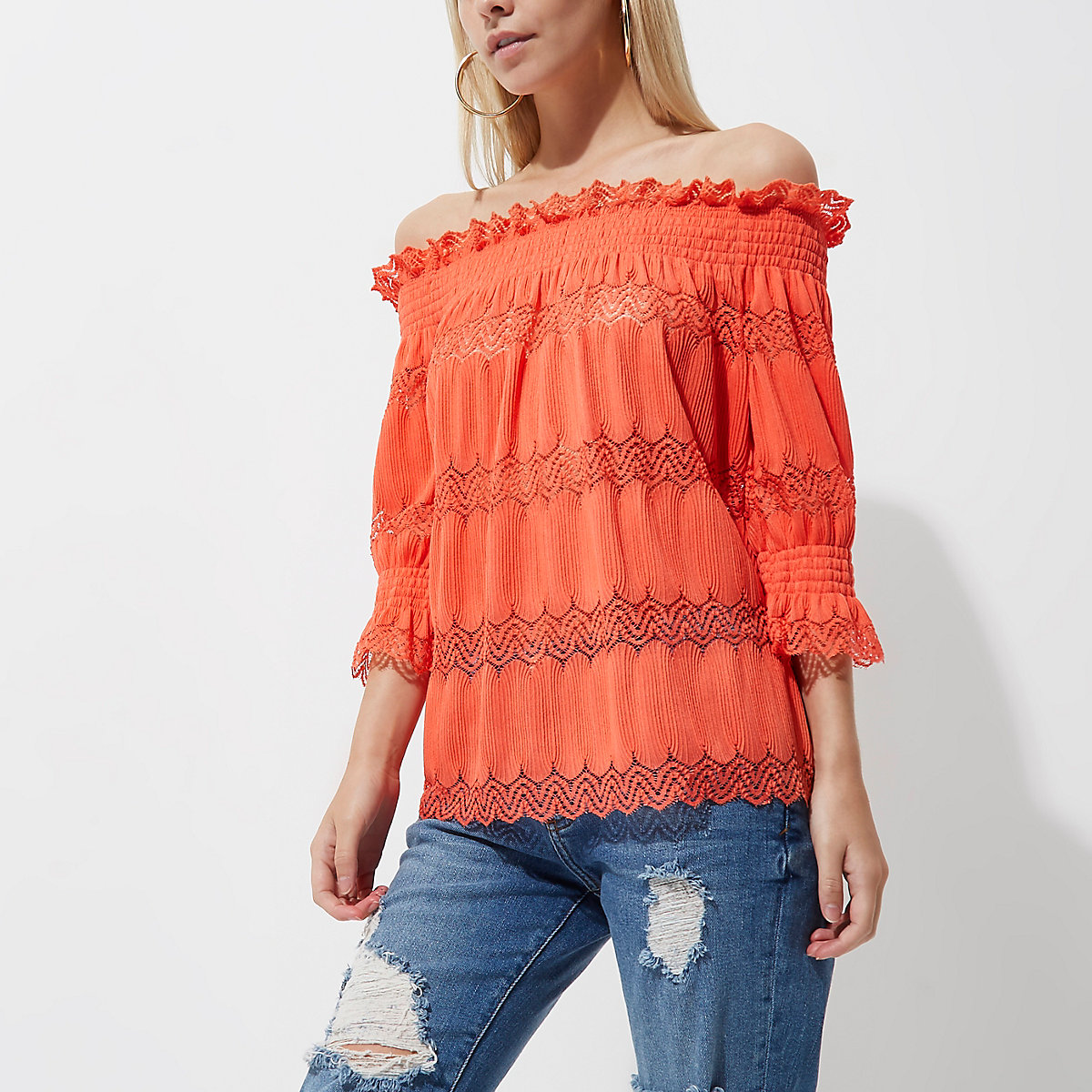 Petite coral lace shirred bardot top