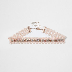 Pink lace diamante cup chain choker