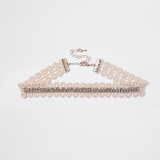 Pink lace rhinestone cup chain choker