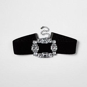 Zwarte fluwelen chokerketting met broche en diamantjes