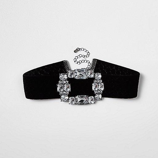 Black velvet diamante brooch choker