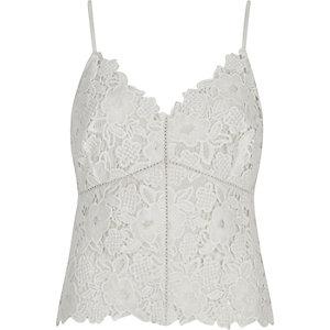 Cream lace cami crop top