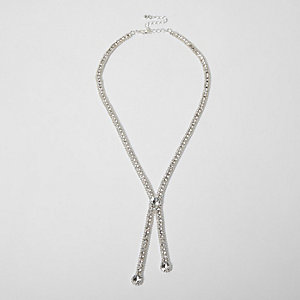 Silver tone diamante drop necklace