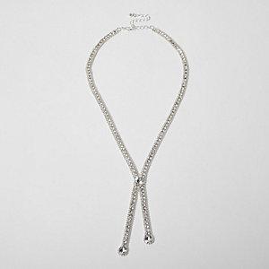 Zilverkleurige ketting met diamantjes