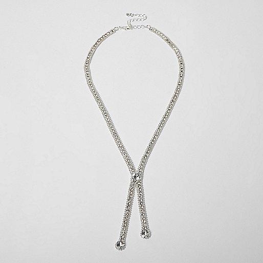 Silver tone diamante drop necklace