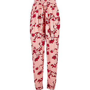Pink floral tie waist tapered pants