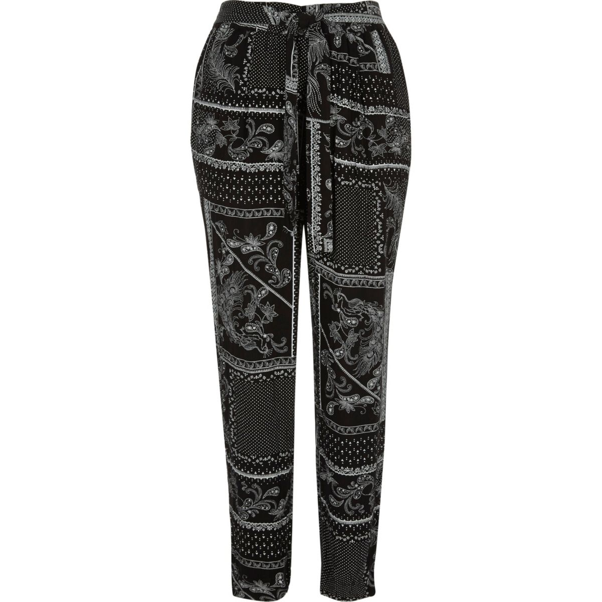 Black monochrome scarf print tapered pants