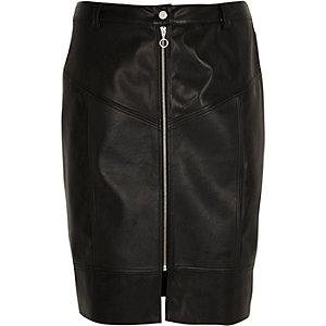 Plus black faux leather front zip midi skirt