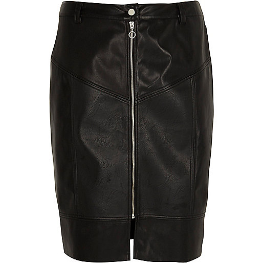 Plus black faux leather front zip midi skirt
