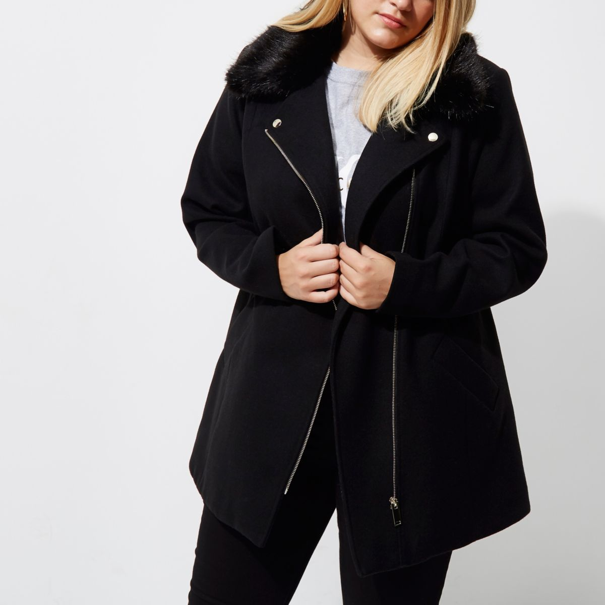 Plus black biker faux fur collar coat