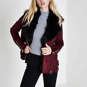 Dark red fur trim aviator jacket