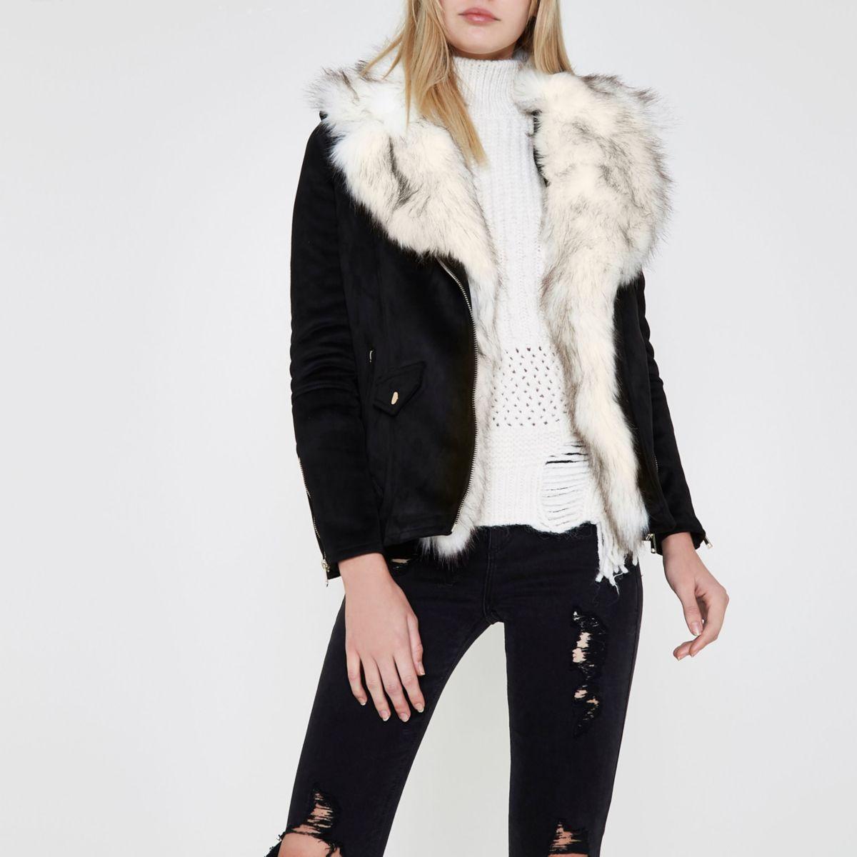 Black faux suede faux fur trim aviator jacket