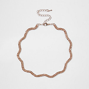 Rose gold tone diamante encrusted wavy choker