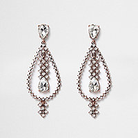 Rose gold tone teardrop dangle earrings