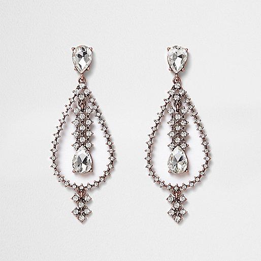 Rose gold tone teardrop dangle earrings