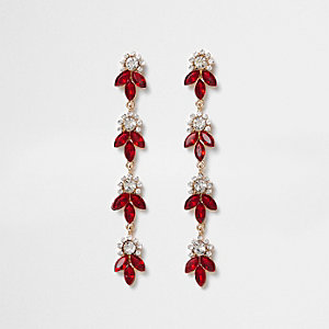 Red rhinestone leaf drop earrings
