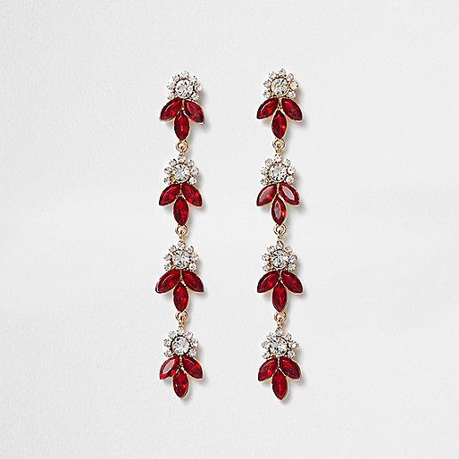 Red diamante leaf drop earrings