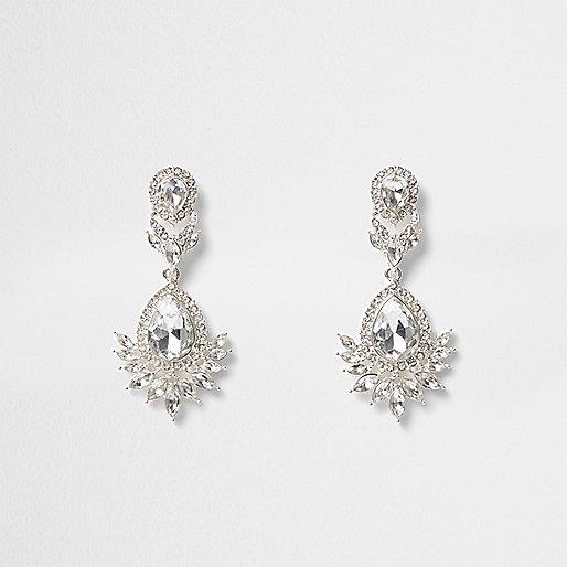 Silver tone crystal drop earrings