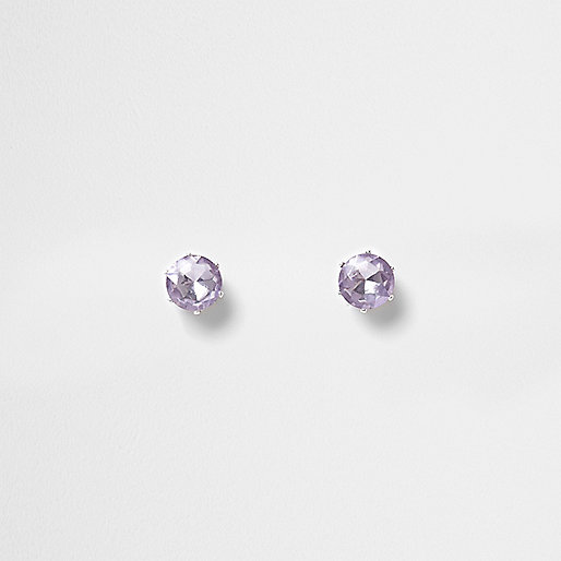 Silver tone lilac gem stud earrings