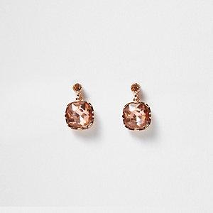 Rose gold tone rhinestone stud earrings
