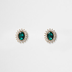Gold tone emerald rhinestone stud earrings