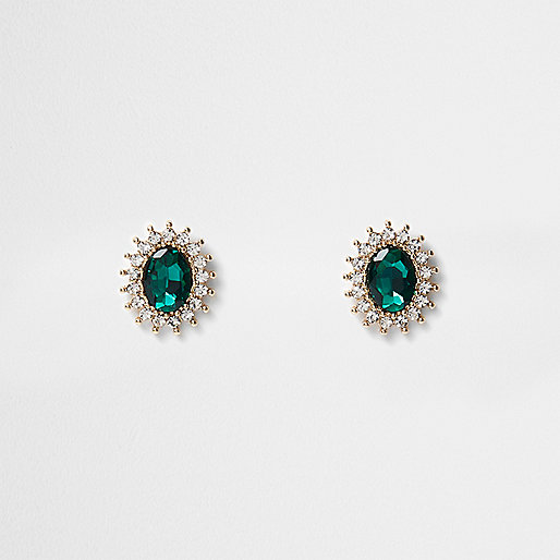 Gold tone emerald diamante stud earrings