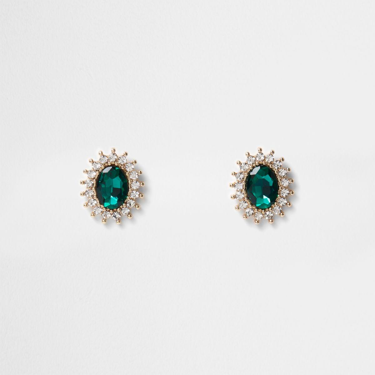 Gold tone emerald diamante stud earrings
